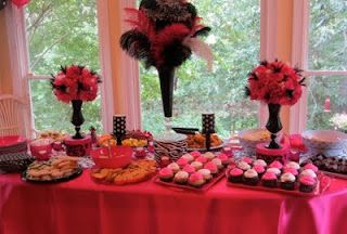 pink and black table decor