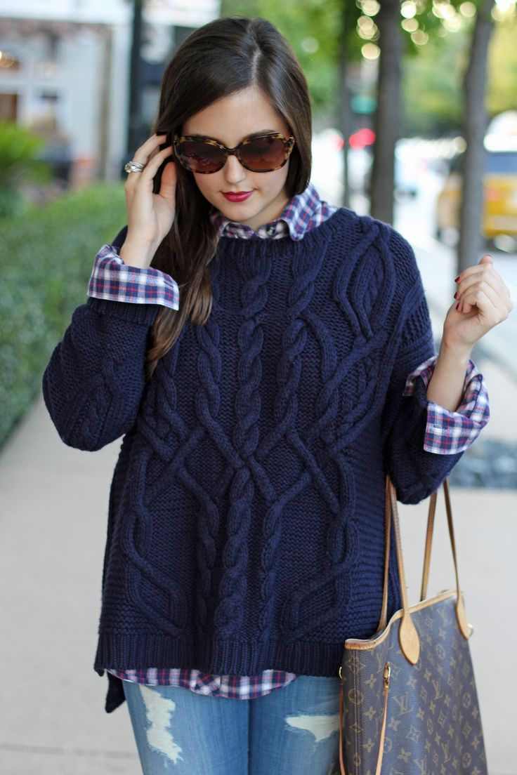 fall fashion :: navy cable knit sweater & plaid shirt