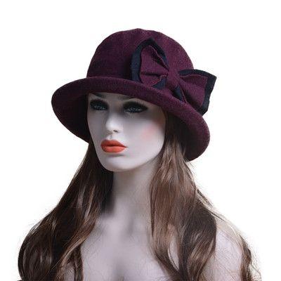 Fashion Female Winter Dress Hat Fascinators Wool Felt Fedora Ladies Church Hats Cloche Bucket Cap with Bow Design for women