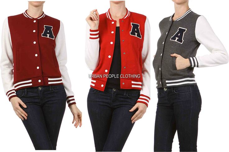 New women girls casual sports varsity baseball jacket snap button ...