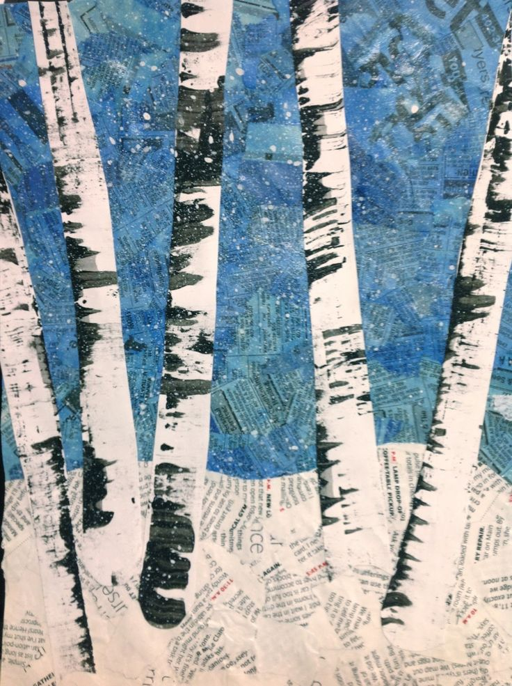 "A little ""Snow Day"" Inspired Aspen Tree Art Lesson with recycled magazine, newspaper, watercolor and the classic ""aspen trees"""