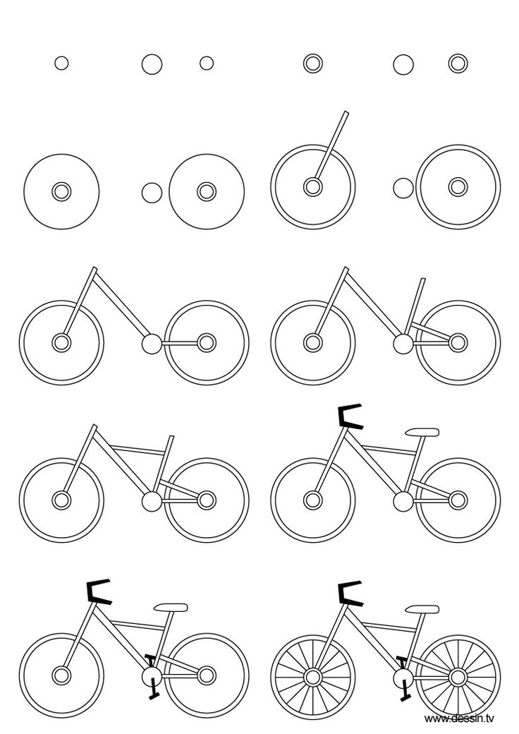 How to draw a bicycle, step-by-step. (Click on picture, then shrink-to-fit 85% to fit on 1 page.) (art, kids, drawing lessons)