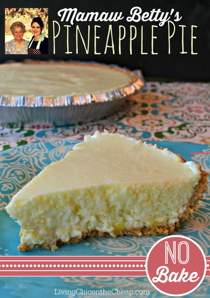 Mamaw Betty's Pineapple Pie Recipe! This is my Mamaw Betty's Pineapple Pie recipe. After years of enjoying this pie and family gatherings,  I was finally able to get her recipe. This pie is SO good that our friends and coworkers can't wait for us to bring back Mamaw's Betty pies and cakes. (She ALWAYS sends us home with plenty of food to share.) I was surprised at how easy this pie is to make. #pie #recipe #nobake