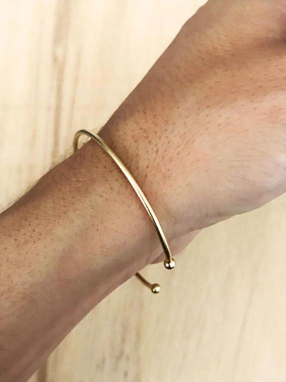 Open cuff bracelet, thin bracelet, adjustable bracelet, gold plated bracelet, open bracelet, minimal bracelet, thin gold bracelet, balls