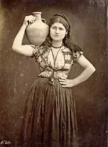 Dumas  Jeune femme en Gréce. Tirage argentique d'époque. Circa 1870.