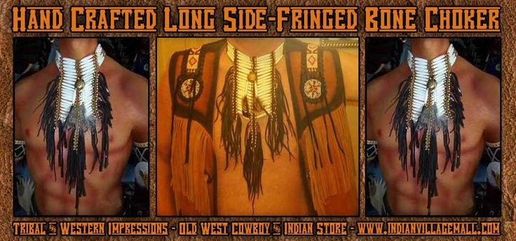 Medium Breast Plate- Long Bone Choker From Tribal And Western Impressions -Old West Cowboy And Indian Store- www.indianvillagemall.com