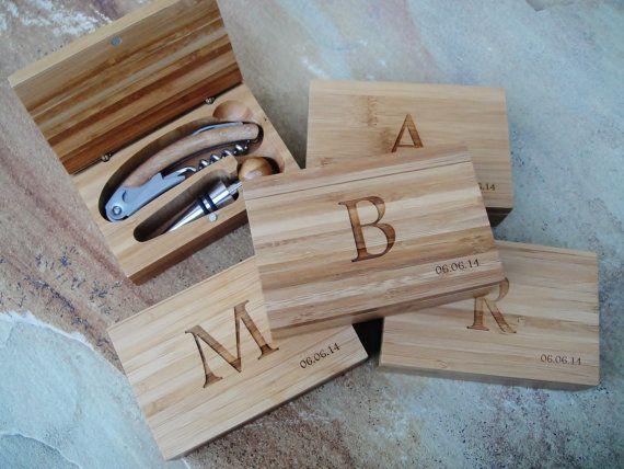 Personalized Bottle Opener Set, Custom Bamboo Box, Custom Corkscrew, Engraved Corkscrew Set: Birthdays, Groomsmen, Bridesmaid, Gift for Him on Etsy, $29.50