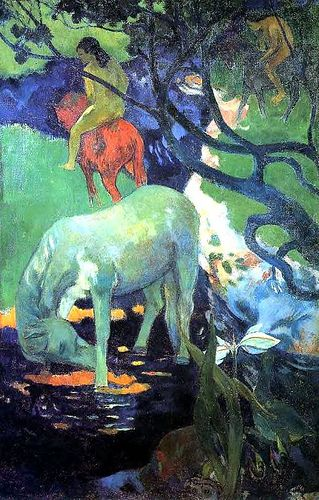 ♞ Artful Animals ♞ bird, dog, cat, fish, bunny and animal paintings - Paul Gauguin | The White Horse, 1898