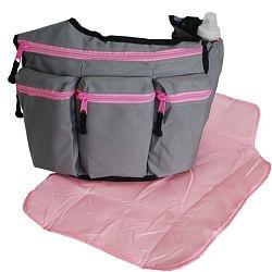 Stylish Diaper Bags for Dads & Moms - Diaper Dude®::Divas::Grey w Pink Zipper Diva