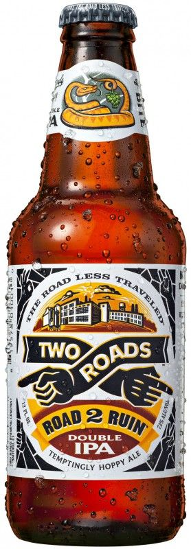 Cerveja Two Road Road 2 Ruin Double IPA , estilo India Pale Ale (IPA), produzida por Two Roads Brewing, Estados Unidos. 8% ABV de álcool.