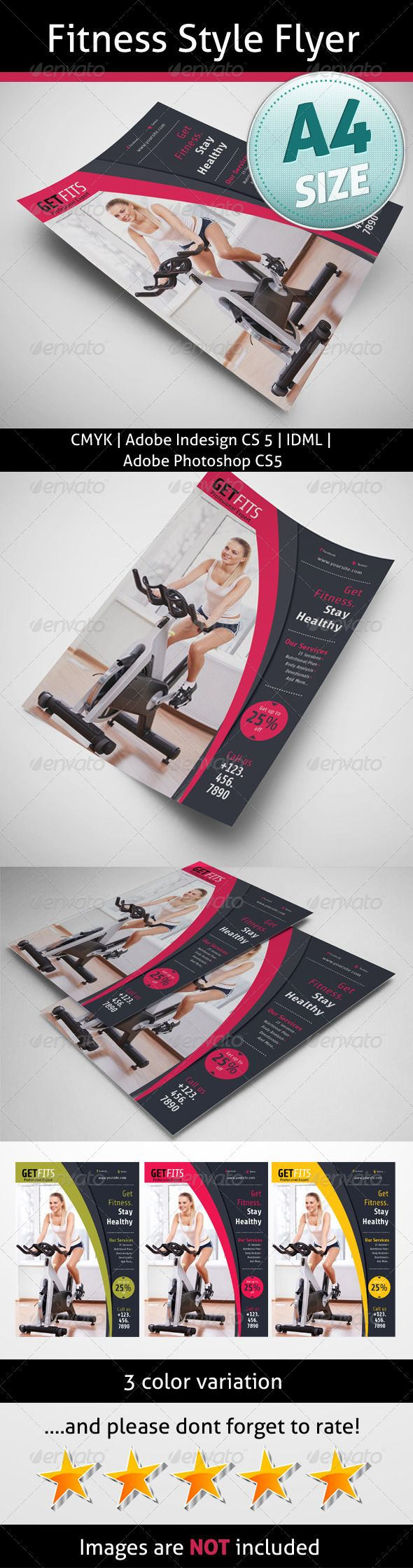 Poster design using photoshop cs5 - Fitness Style Flyer Graphicriver A4 8 2677 11 6929 Bleed 5 Mm Indesign Cs5 Photoshop Cs5