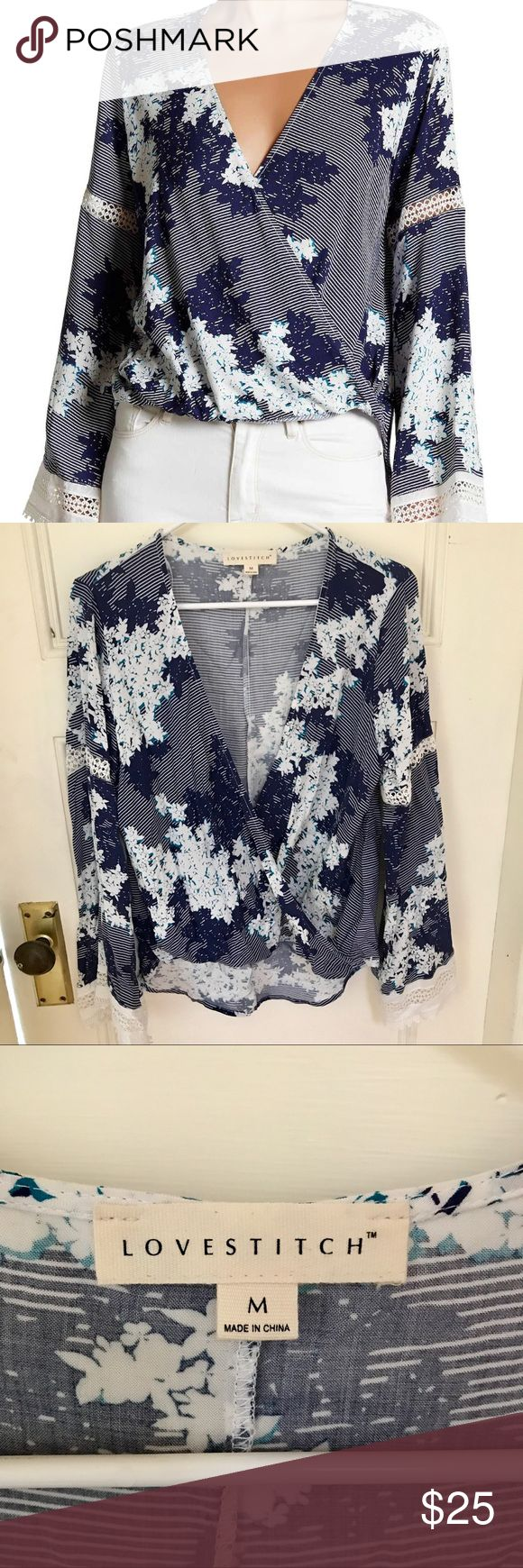 Love Stitch Bell Sleeve blouse This tops is so perfect for any event.  The bell sleeves have a lace trim around them that is so pretty.  I have only worn this one time so in excellent condition.  Purchased off Nordstrom Rack website. Love Stitch Tops