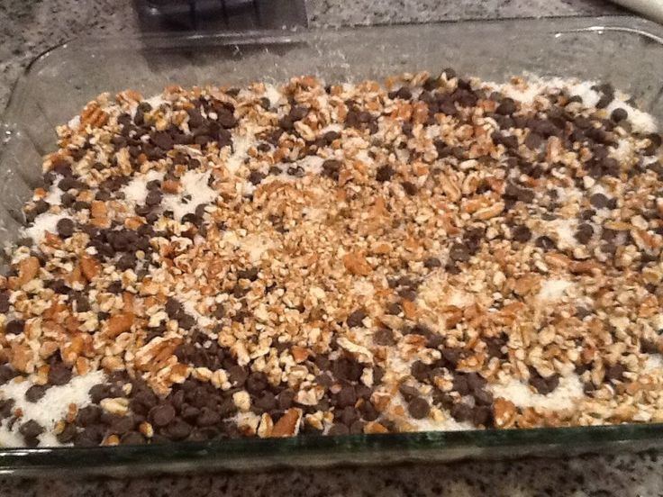 THM Magic Cookie Bars Use http://www.briana-thomas.com/butterfinger-bars-s/ for the bottom crust, then pour http://countingalljoy.com/2014/10/sweetened-condensed-coconut-milk-s-trim-healthy-mama-dairy-free-sugar-free.html reicpe over crust and top with unsweetened coconut, Lily's brand chocolate chips, and pecans on top. Baked at 350 degrees for 20 minutes. via Anne Astle