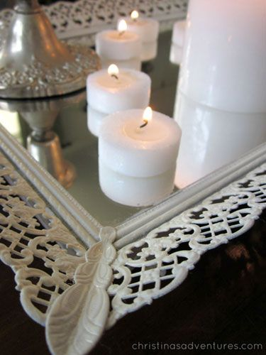 Rescue a mirror from a thrift store and add a coat of spray paint to make a stylish centerpiece! #DIY #centerpiece