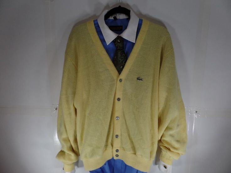 Izod Lacoste Mens Cardigan Sweater Yellow Size Large Button Front #IzodLacoste #Cardigan