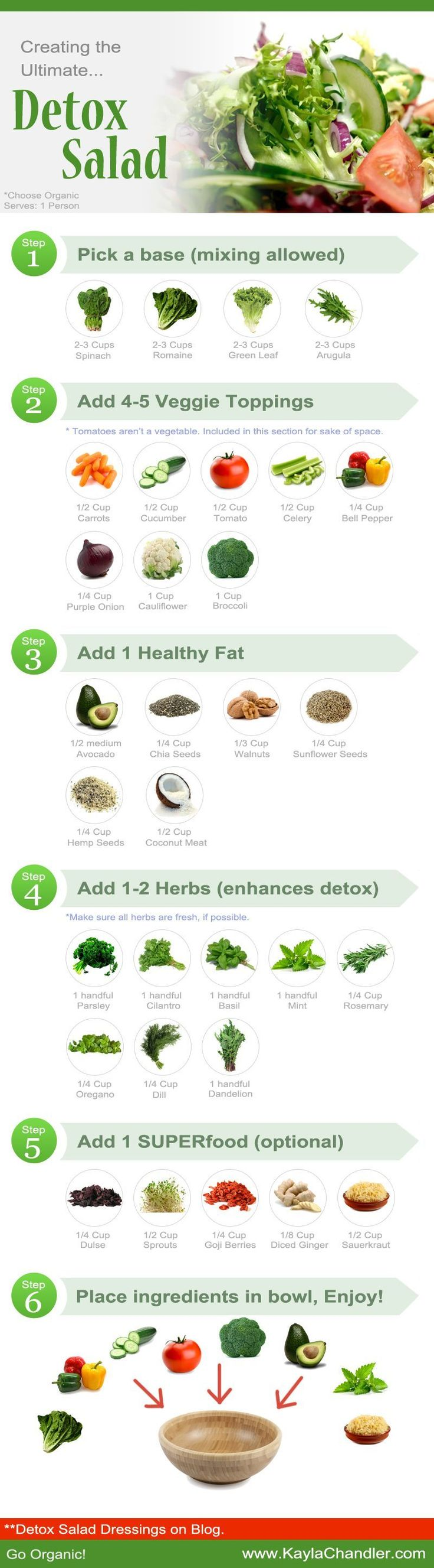 Creating the Ultimate Detox Salad.. plus DIY Healthy Salad Dressings included...saving this image to my phone! #detox #salads #HealthyDetoxDiet #DetoxDietSalad