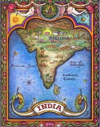 Map of India. Where Vrndavana is the heart <3