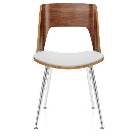 Karma Walnut Dining Chair White Leather - Atlantic Shopping