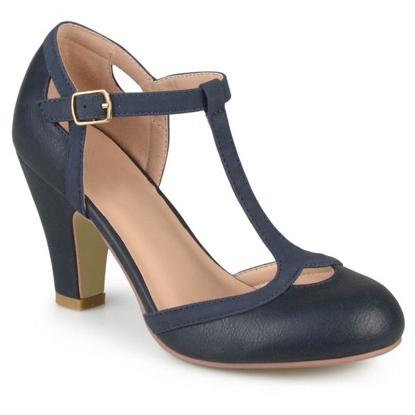 Women's Journee Collection Womens T-strap Mary Jane Pumps - Navy (60 CAD) ❤ liked on Polyvore featuring shoes, pumps, blue, pumps & heels, mary-jane shoes, round toe mary jane pumps, navy mary jane pumps, blue shoes and t strap mary janes