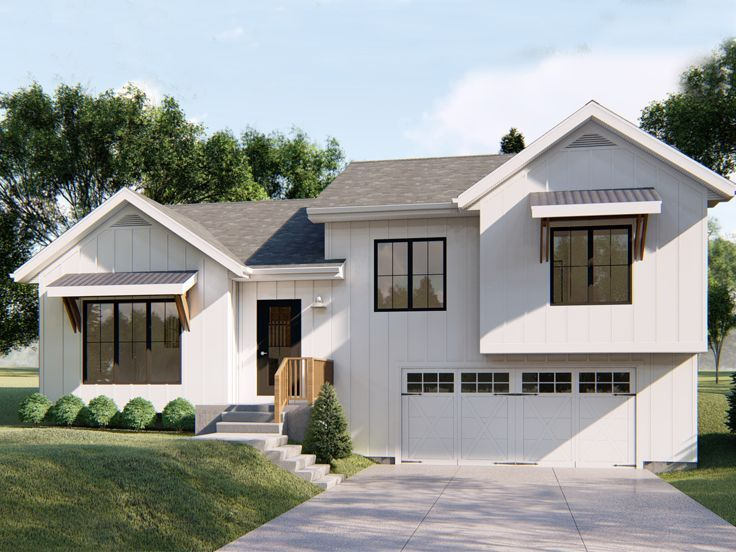 050h 0184 Small Split Level House Plan 1507 Sf Modern Farmhouse Exterior American Houses Split Level House Plans