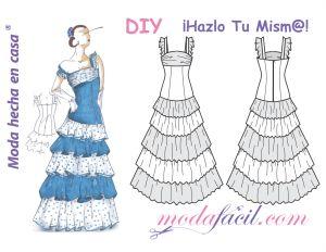 Descarga gratis los patrones de costura de este precioso vestido flamenco disponible en 10 tallas trazadas individuales, listas para poner sobre la tela y cortar.
