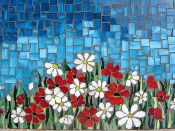 Mosaic panel FIELD OF FLOWERS por andreamosaic en Etsy