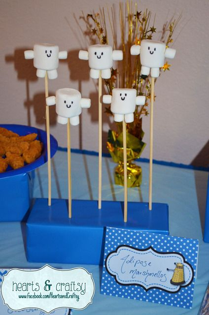 Marshmallow pops at a Dr. Who Party What an incredibly simple idea. Why didn't I think of that?