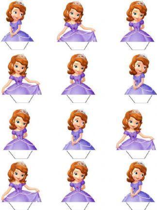 Princess Sofia Ehető felállni ostya papír Cupcake Toppers