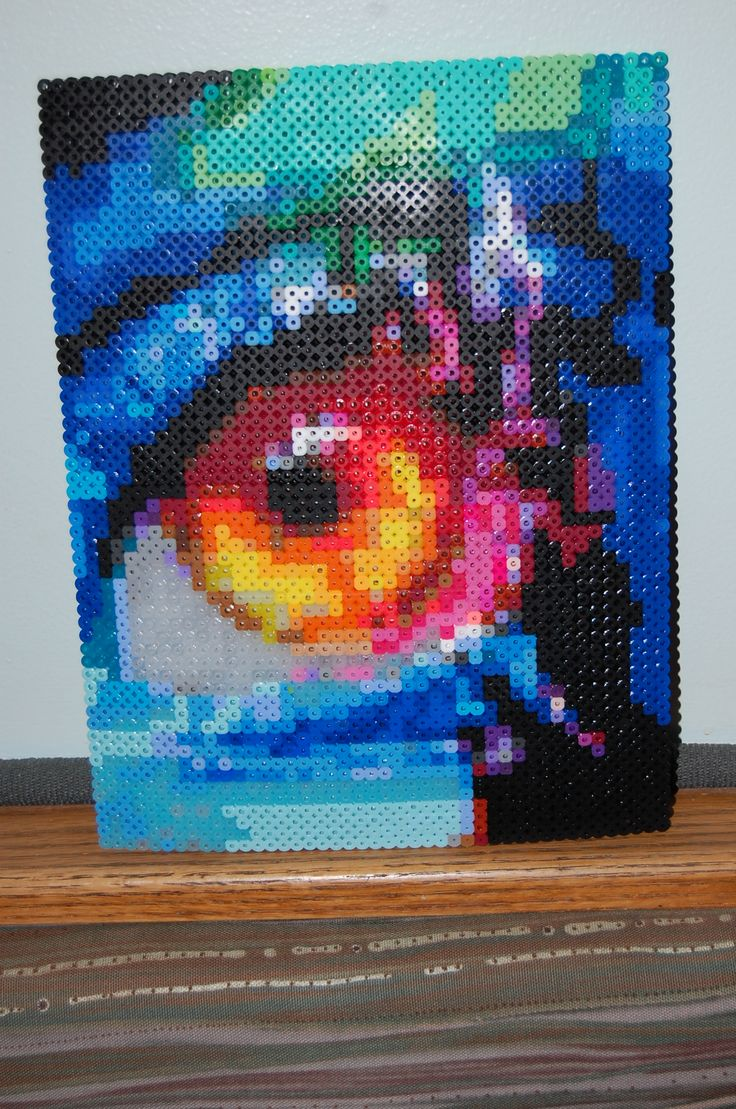 flame eye perler bead art made by me! - amanda wasend
