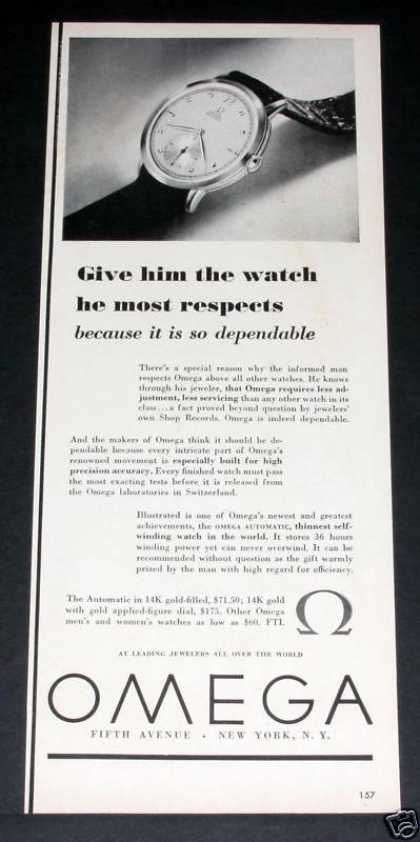 Old , Omega Watch, Most Respected (1949)