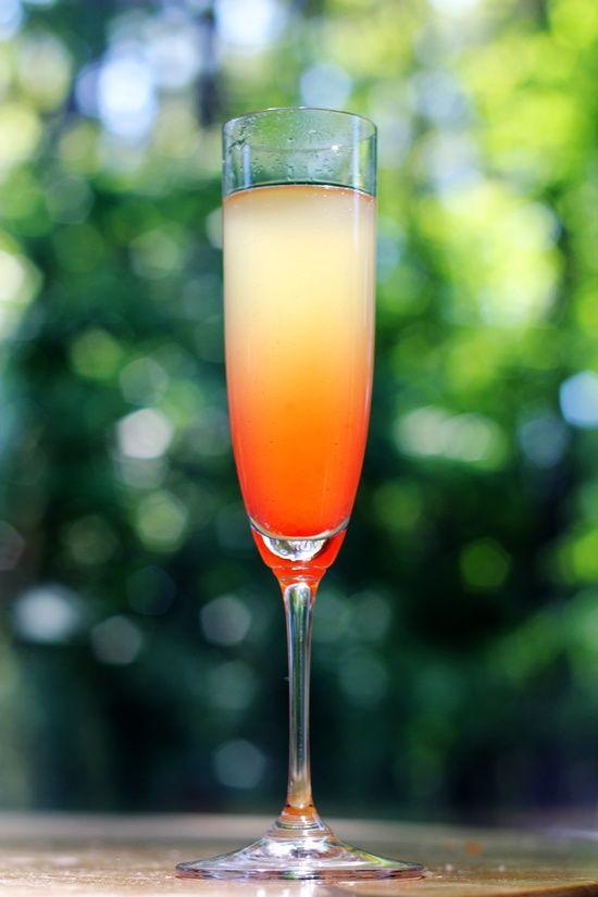 island mimosa - champagne, pineapple juice, Malibu, grenadine Yummy