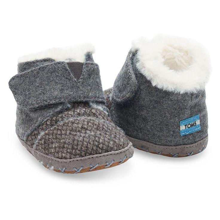 Grey Felt Tweed Tiny TOMS Cuna Crib Shoes