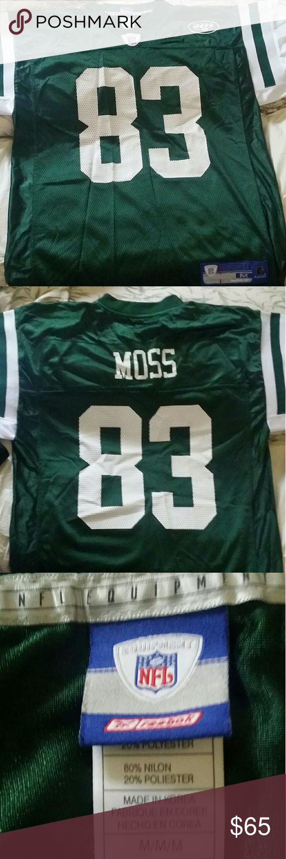 Jets jersey #83 Moss Green and white jersey. Brand new. Worn only one time. Bit crinkled from being in storage. But perfect condition. See pics for more details. Reebok Shirts