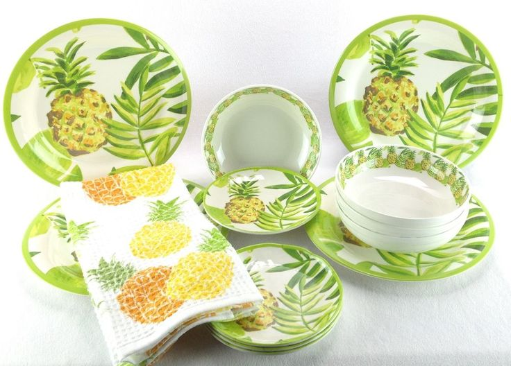 Outdoor Collection Plates Pineapple Tropical MELAMINE Kitchen Towel 13 PC NEW #OutdoorCollection
