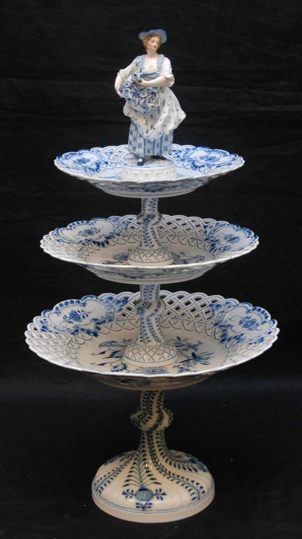 Gorgeous German Meissen Porcelain Blue Onion Figural Cake Stand - circa 1860-1880