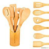 #3: BambooWorx Bamboo Cooking Utensils Set- 6 Pieces  Holder Wooden Spoons & Spatulas Kitchen Utensils All Natural Bamboo.