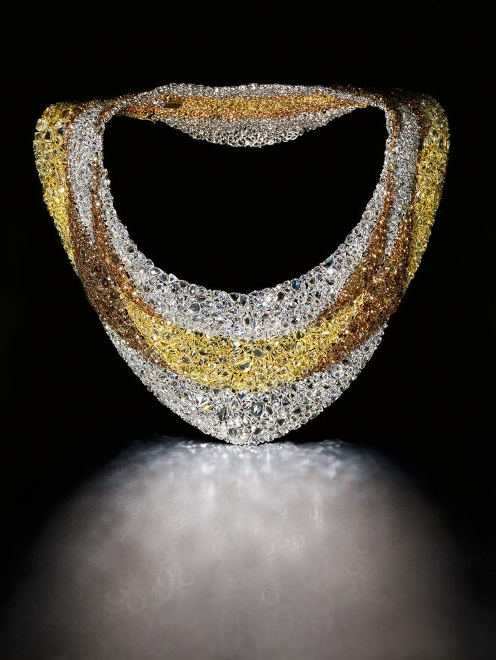 Necklace of 100's of multi colored rose cut diamonds from DeBeers.. ooOh!! Tom Dobbie, Glasgow is the Photographer.