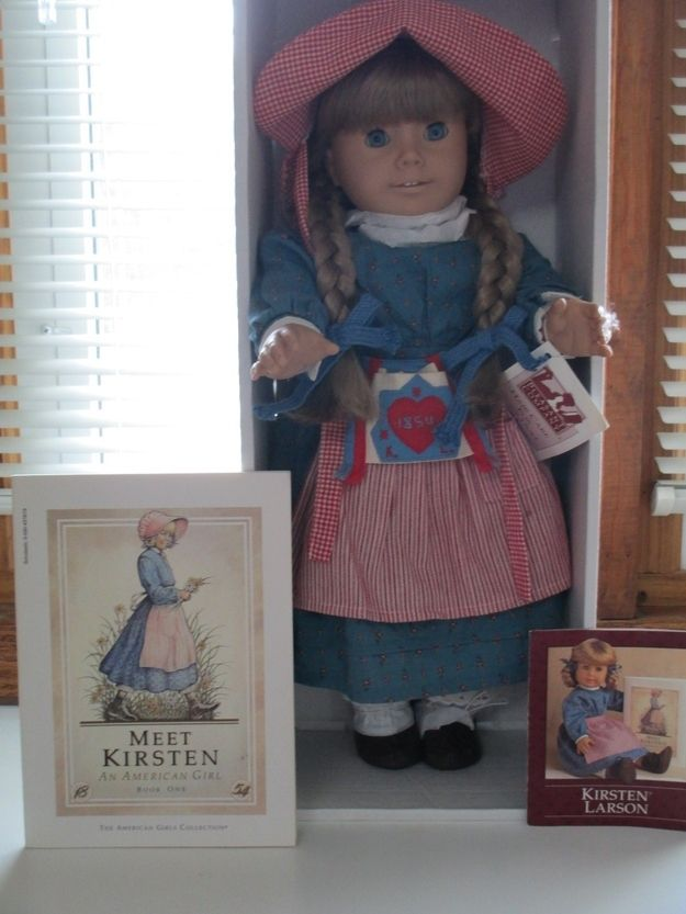 Here's a Kirsten doll new in the box (increases the value) with book and bed set going for $750. | How Much Is An Original American Girl Doll Worth?