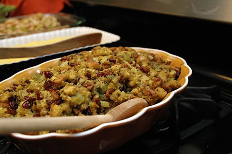Cranberry and Sausage Cornbread Stuffing using Trader Joes Cornbread stuffing mix