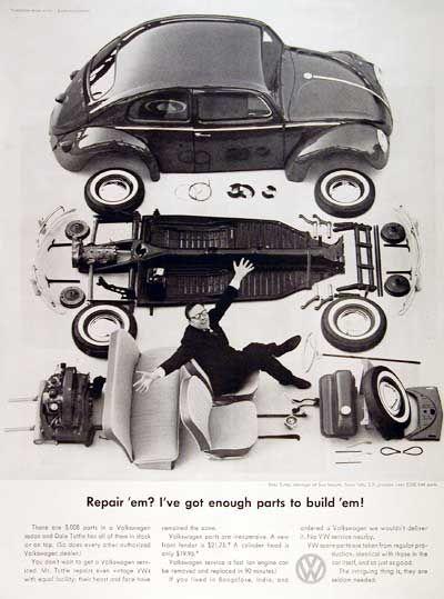 """Doyle Dane Bernbach – """"Repair 'em? I've got enough parts to build 'em!"""" #Volkswagen #advertisement"""
