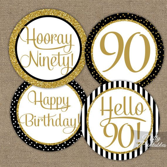 90th Birthday Cupcake Toppers - Black & Gold - 90 Years Bday Party Printable - Elegant DIY 90 Birthday Favor Tags - Instant Download - BGL