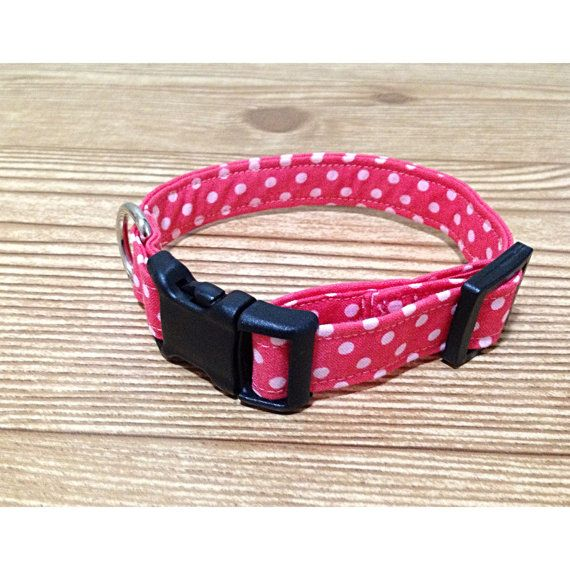 M + LG - Pink Polka Dot Dog Collar, Pink Dog Collar, Fabric Dog Collar