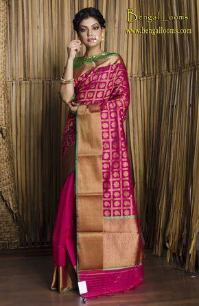 Chanderi Banarasi Silk Saree in Rani and Antique Gold