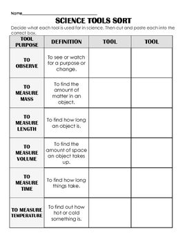 Science Tools Sort/ Cut & Paste: Observe, Measure, Review, Assess Differentiated