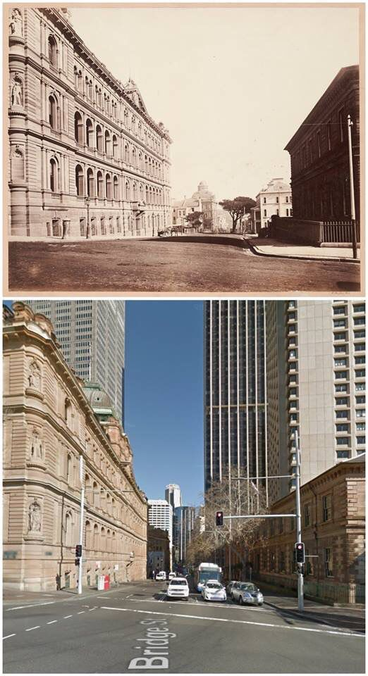 Looking down Bridge St from Macquarie St c1890 & 2015. [c1890 - State Library VIC > 2015-Google Street View/by Jan Harkins]