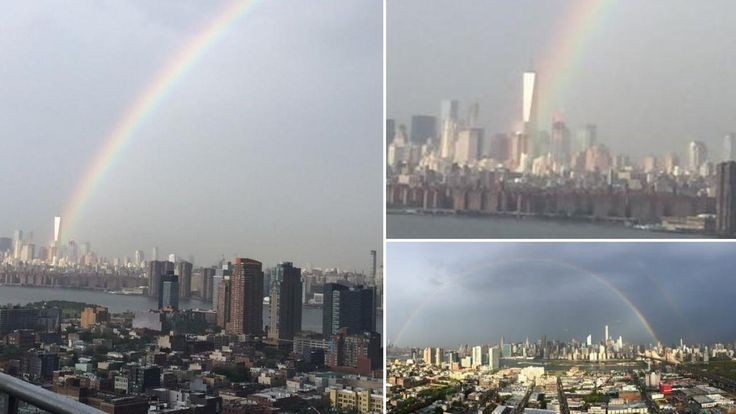 A stunning #rainbow appeared over top of the #WorldTradeCenter in #NewYorkCity Thursday, one day before the city marks the 14th year since an attack on Lower Manhattan.