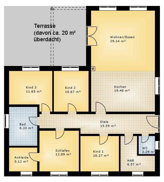 Grundriss bungalow 3 zimmer  Die 25+ besten Winkelbungalow grundriss Ideen auf Pinterest ...