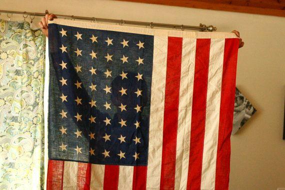 48 Star Flag Vintage American Flag Old Flag by vintageatmosphere, $150.00