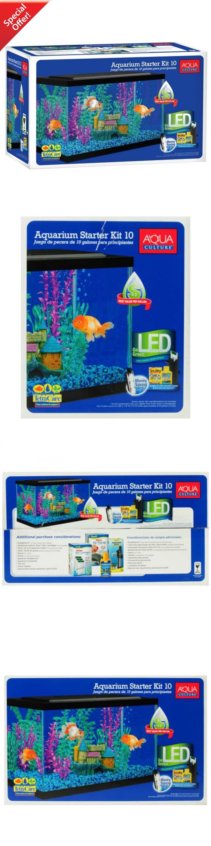 Fish tank heater 10 gallon - Aquariums And Tanks 20755 Aquarium Starter Kit Fish Tank 10 Gallon Led Light Aqua Culture