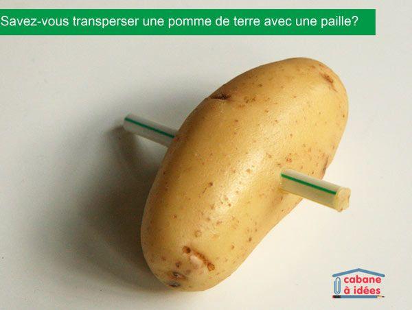 Savez-vous transpercer une pomme de terre avec une paille? | La cabane à idées